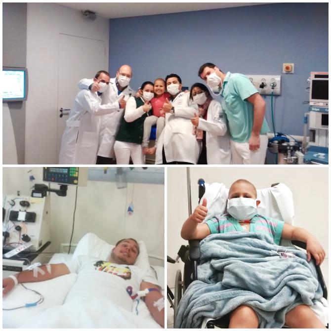 1.Olívia com a Equipe da Radioterapia 2.Papai doando Medulinha para Olívia 3.Olívia no dia do Transplante (cedo)