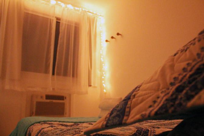 quarto de noite luzes de fada